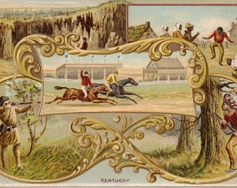 Arbuckle Coffee Kentucky Pictorial History Series Indians Victorian Card 1880s