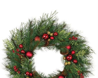 Mixed Pine with Ornaments Wreath 24""