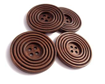 Bouton de bois roux de 38mm - ensemble de 4 boutons en bois naturel avec cercles