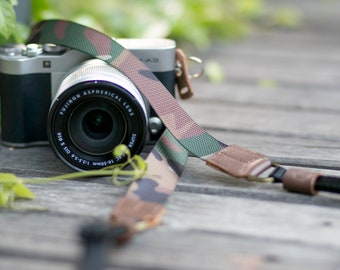 Slim Camouflage Army Green-Brown Nylon Adjustable Camera Strap For Mirrorless Leica Olympus Canon Nikon Fuji Sony Panasonic Pentax