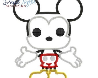 Pop Mickey - 4x4, 5x7, 6x10, 7x10 in 9 formats - Applique - Instant Download - David Taylor Digitizing