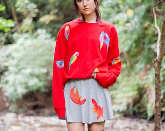 Hand Painted Parrots Sweater