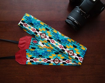 Tribal Print Camera Strap with Red Genuine Leather, Heavy Duty Photography Strap
