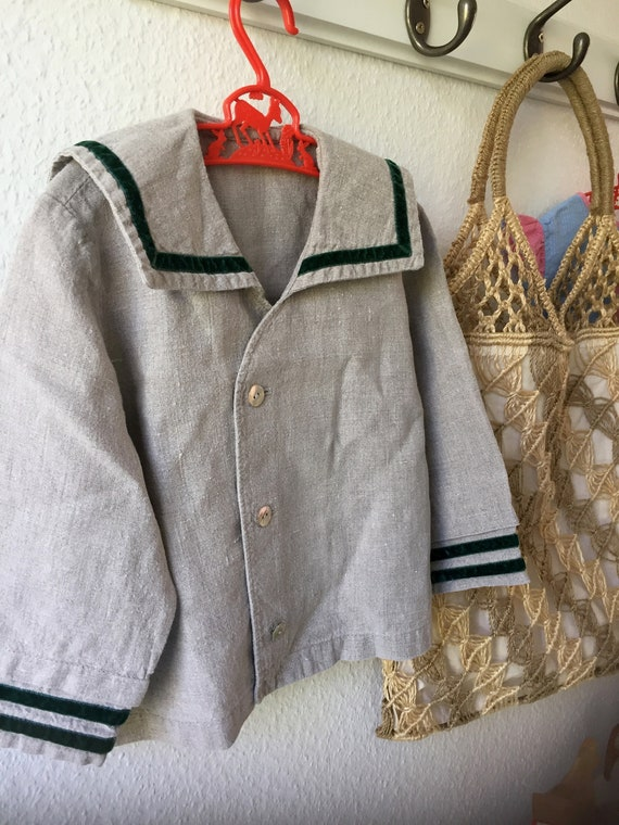 Boys/Nautical/button down/sailor/shirt/Jacket/Linen/1960s