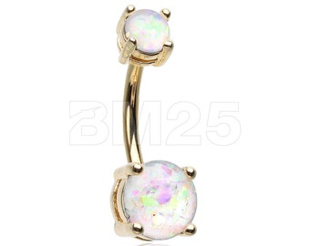 Golden Opal Sparkle Prong Set Belly Button Ring - White