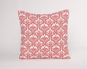 Red Damask Pillow Cover, Red and White Throw Pillow. Damask Accent Pillow, Decorative Pillow Cover Fits 12x16, 14, 16, 18, or 20 Inch insert