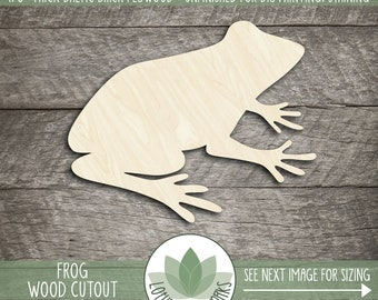 Frog Wood Shape, Wooden Laser Cut Frog Cutout, Frog Nursery Decor, Unfinished Wood For DIY Projects, Many Size Options, Frog Party Decor