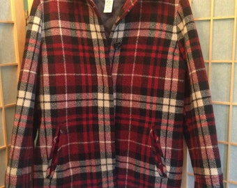 Vintage Women's Eddie Bauer Plaid Wool Car Coat