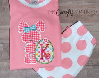 Girl Easter Pajamas-Easter Bunny Pajamas-Easter Bunny PJs-Pink Easter PJs-Easter Gift for Girls-Matching Easter PJs-Personalized Pajamas