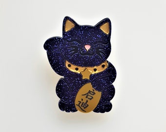 Maneki Neko Enlightenment cat brooch