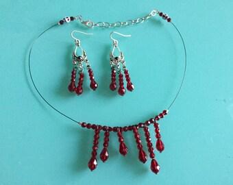 Swarvoski Crystal Blood Drip Necklace & Earring Set