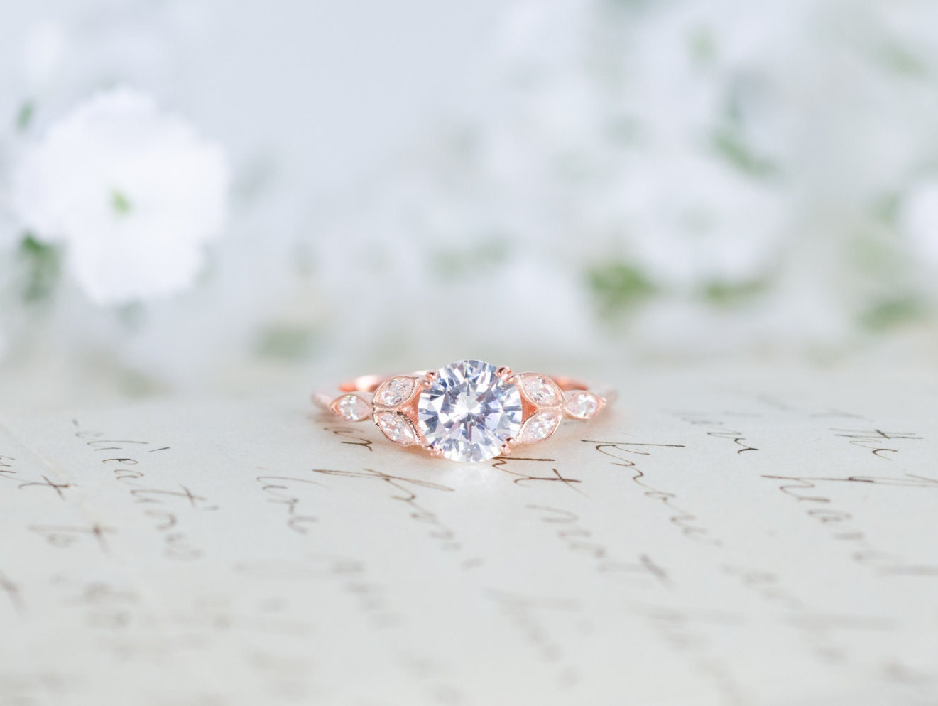 Rose Gold Engagement Ring Art Deco Ring Vintage Wedding