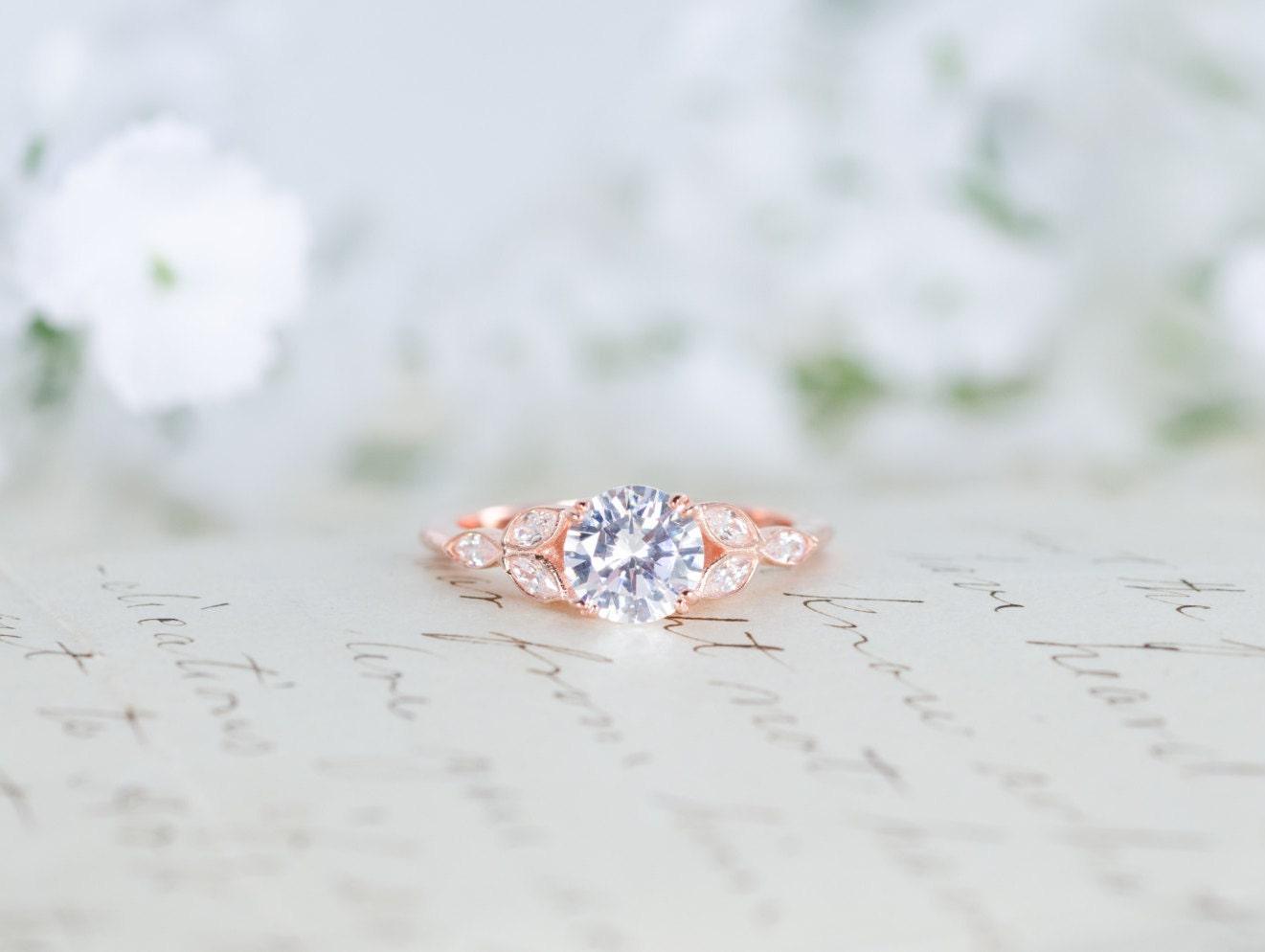 Best Rose Gold Engagement Ring Art Deco Ring Vintage Wedding WF01