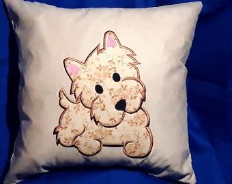 Yorkie Applique Pillow