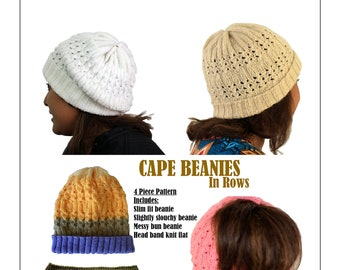 Pdf Knitting Pattern - Cape Beanies In Rows
