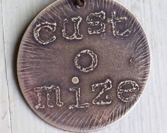 personalized etched brass dog tag