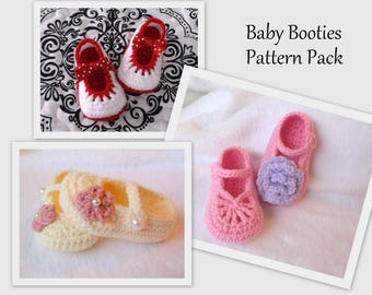 Baby Booties PATTERN Pack Crochet Mary Janes Crochet Pattern Baby Booties Crochet Baby Shoes Crochet Pattern Crochet Pattern