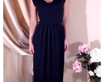 Navy Blue Lace Maxi Dress/ V Neck Sleeveless Evening Dress