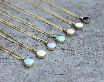 Circle Necklace // Colorful Dot // Bridesmaid // 16K Gold // Minimal Necklace // Layering Necklace // Geometric // Mint, Peach, Lavender