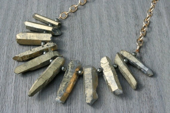 Dusty Gold Quartz, Pyrite and Gold Statement Necklace // Gifts for Her