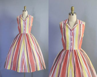 1950s Striped Cotton Halter Dress/ Medium (37b/30w)