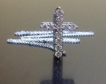 18K Diamond Cross - 18K White Gold Cross Necklace - Diamond Necklace - Diamond Pendant - 18K Gold Cross - Gold Cross - Art Deco Gold Cross