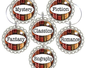 Set of 6 - BOOK CLUB  - Book Types Wine / Martini Charms - Swavorski Crystals- Bachelorette Party Favors, Wedding Favor, and Parties