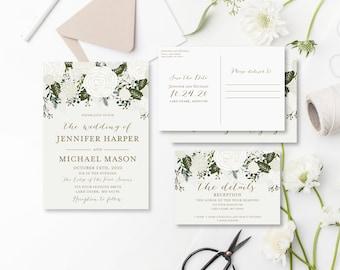 Wedding Invitation Set Template DIY Wedding Set Cheap Wedding Invitations Rsvp Card Details Card INSTANT Download PDF Template #CL112