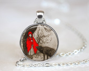 Little Red Riding Hood Glass Pendant, Photo Glass Necklace, Glass Keychain, Glass Jewelry