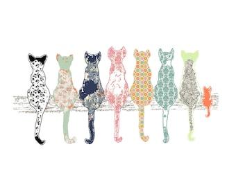 Cat art, cat nursery wall art, nursery decor, baby girl nursery, cat decor, girl nursery decor, baby art print, baby girl, baby animal art