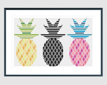 Cross stitch pattern, modern cross stitch pattern, pineapple cross stitch pattern, fruit cross stitch pattern, instant download