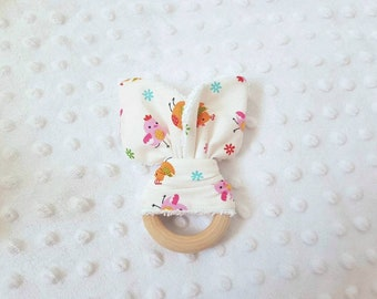 Pacifier clip teething ring