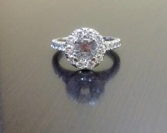 14K White Gold Halo Diamond Engagement Ring - 14K Gold Diamond Wedding Ring - Halo Diamond Ring - 14K Diamond Mounting - Diamond Jewelry