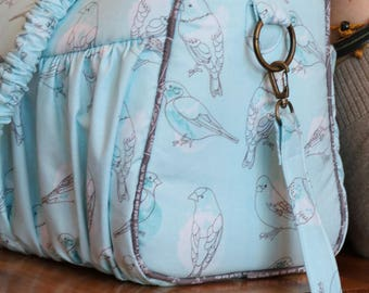 FREE SHIPPING-Blue Water Color Birds Piccadilly Purse