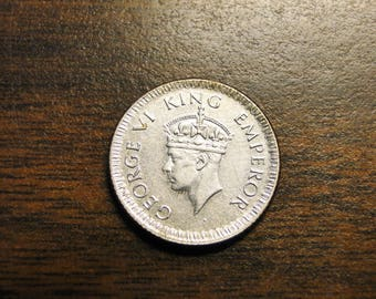 1943 India Quarter 1/4 Rupee - Silver - Very Nice Coin!  #513