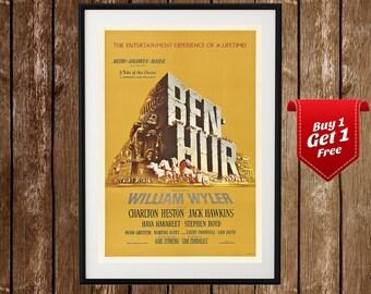 Ben Hur Movie Poster, Ben Hur Print, Histroical Film, Oscar, Charlton Heston, Classic, Vintage Movie Print, Classic Film Poster, Iconic