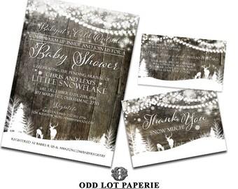 Winter Baby Shower Invitation, Deer Baby Shower Invitation, Rustic Baby Shower Invitation, DIY Printable Winter Baby Shower Invitation Set