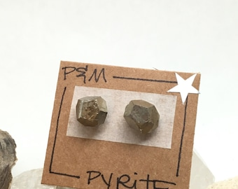 Large Pyrite Crystal Stud Earrings - Sterling Silver Post - Rough, Raw Stones - Natural Mineral Beauty