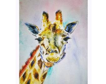 Original Giraffe Watercolour Painting, Animal Painting,  Wildlife Art. A4