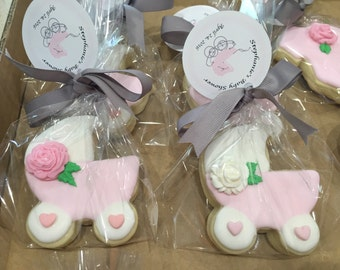 Baby Girl Carriage with Pink Rose Sugar Cookies