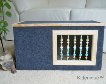 Blue Beaded Cat House - Wooden Cat Furniture - Unique Beaded Doorway and Window with Sterling Silver - Deluxe Carpeted Cat Condo, Cat Cave.