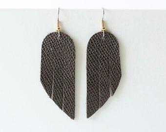 Leather Earrings / Mini Fringe / Dark Roast