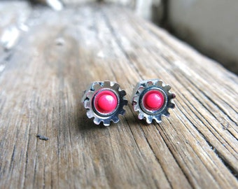 Modern Materials Pink Neon Stud Post Earrings Stainless Steel Flower Shape
