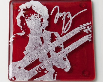Jimmy Page Led Zepplin Guitarist Fused Glass Coaster Guitar Music Musician Yardbirds