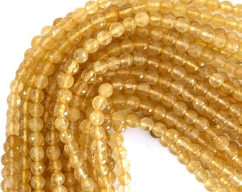 """6mm faceted pineapple quartz round beads 15"""" strand 39217"""