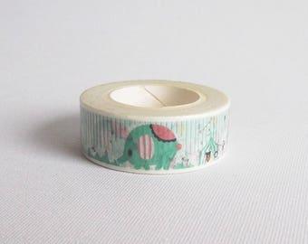 Elephant washi tape, Animal washi tape, Circus washi tape, Washi masking tape, Washi paper tape, Japanese washi tape, Cute washi tape
