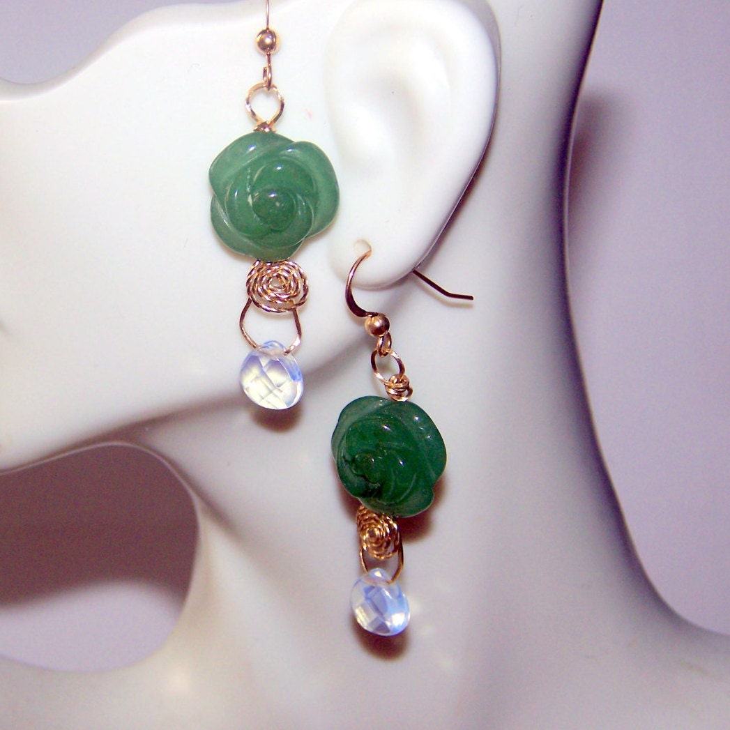 Carved Jade Rose and Opalite Briolette Earrings 14k Yellow Gold ...