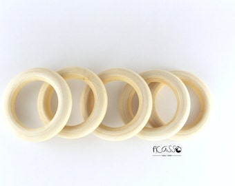 "Toy teether MAPPLE RING, natural wood, 2 5/8""- 67 mm, untreated, baby gift, sensory toys,shower gift, baby teething toy, baby teether, DIY"