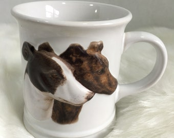 Greyhound Dog Coffee Mug Brown & White