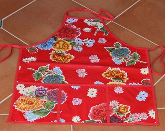 Oilcloth Apron  -  Red Flowered with Pockets